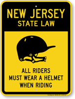 Helmet Law Sign For New Jersey