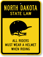 Helmet Law Sign For North Dakota