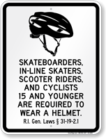 Helmet Law Sign For Rhode Island