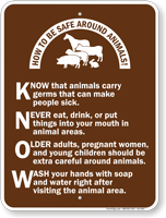 How To Be Safe Around Animals Campground Sign