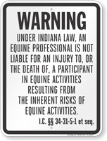 Indiana Equine Liability Sign