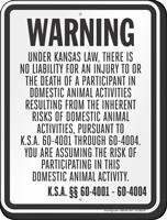Kansas Equine Liability Sign