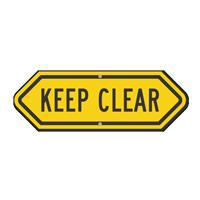 Keep Clear Bi-Directional Emergency Sign