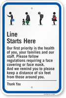 Line Starts Here Keep A Distance Of 6 Feet Sign
