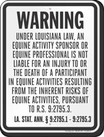 Louisiana Equine Liability Sign