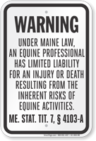 Maine Equine Liability Sign