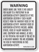 Maine Agritourism Liability Sign