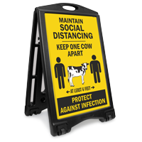 Maintain Social Distancing Keep One Cow Apart Sidewalk Sign