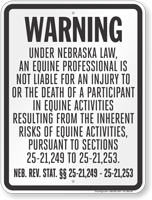 Nebraska Equine Liability Sign