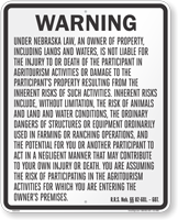 Nebraska Agritourism Liability Sign