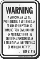 Nevada Equine Liability Sign
