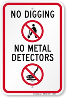No Digging No Metal Detectors Sign
