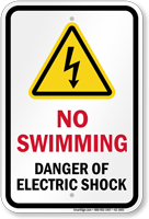 No Swimming Danger Of Electric Shock Sign