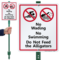 No Wading, Swimming or Feeding Alligators Lawnboss Sign