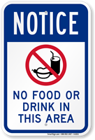 No Food Or Drink In This Area Sign