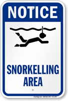 Notice Snorkeling Area Water Safety Sign