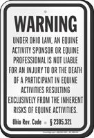 Ohio Equine Liability Sign