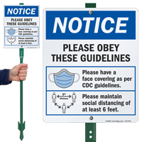 Please Obey Guidelines Face Covering LawnBoss Sign & Stake Kit