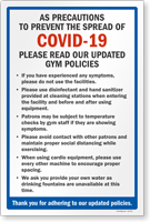 Please Read Our Updated Gym Policies Sign Panel