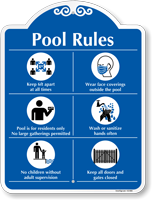 Pool Rules Keep 6ft Apart Wear Face Covering No Larger Gathering Wash Hands Social Distancing Pool Rules Sign