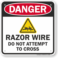 Razor Wire OSHA Danger Sign
