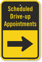 Scheduled Drive-Up Appointment Right Arrow Sign