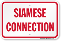 Siamese Connection Fire and Emergency Sign