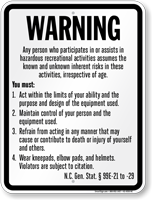 Skateboard Law Sign For North Carolina