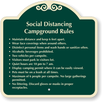 Social Distancing Campground Rules Custom Signature Sign