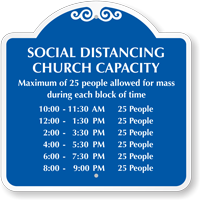 Social Distancing Church Capacity Custom Signature Sign