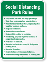 Social Distancing Park Rules Custom Sign