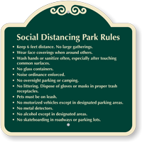 Social Distancing Park Rules Signature Sign