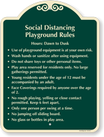 Social Distancing Playground Rules Signature Sign