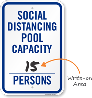 Social Distancing Pool Capacity Write-on Number of Persons Social Distancing Pool Capacity Sign