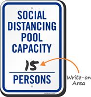 Social Distancing Pool Capacity Write-on Number of Persons Social Distancing Pool Capacity Sign