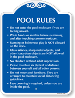Social Distancing Pool Rules Signature Sign