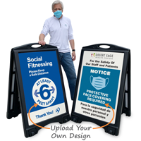 Social Fitnessing And Face Covering Custom Sidewalk Sign