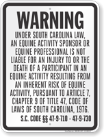 South Carolina Equine Sign