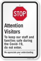 Stop Attention Visitors Keep Our Staff And Families Safe Sign