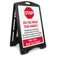 STOP Did You Wash Your Hands Sidewalk Sign