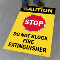 Stop Do Not Block Fire Extinguisher Sign