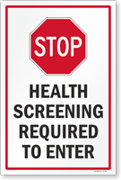 Stop Health Screening Required To Enter Sign Panel