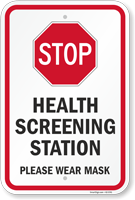 Stop Health Screening Station Please Wear Mask Sign