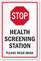 Stop Health Screening Station Please Wear Mask Sign Panel