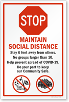 Stop Maintain Social Distance Stay 6 Feet Away Sign Panel