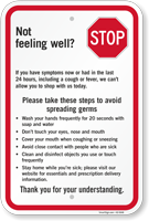 Stop Please Take Steps To Avoid Spreading Germs Sign