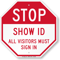 Stop show id all visitors must sign in sign sku k2 0224 for All visitors must sign in template