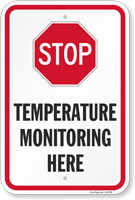 Stop Temperature Monitoring Here Social Distancing Sign