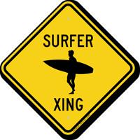 Surfer Xing Symbol Crossing Sign