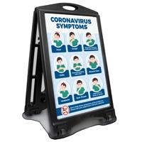 Symptoms Fever Cough Shortness Breath Supervisor Doctor Warning Workplace Sidewalk Sign
